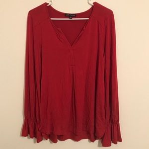 Cable and Gauge V-neck Blouse with Flare Sleeves